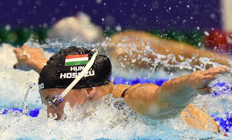 Hungary's Katinka Hosszu competes in the women's 200m Butterfly final of the 32nd LEN European Swimming Championships on August 24, 2014 in Berlin (AFP Photo/John MacDougall )