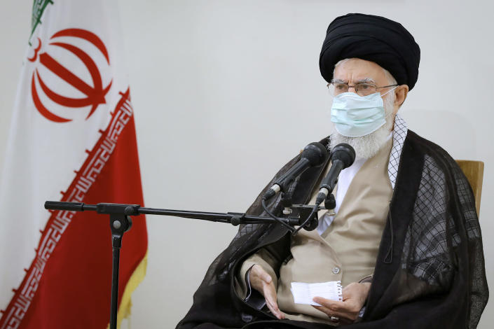 In this photo released by an official website of the office of the Iranian supreme leader, Supreme Leader Ayatollah Ali Khamenei speaks in a meeting in Tehran, Iran, Friday, July 23, 2021. Ayatollah Khamenei on Friday said he understands protesters' anger over a drought in the country's southwest, as a fourth death related to ongoing demonstrations there was reported. (Office of the Iranian Supreme Leader via AP)