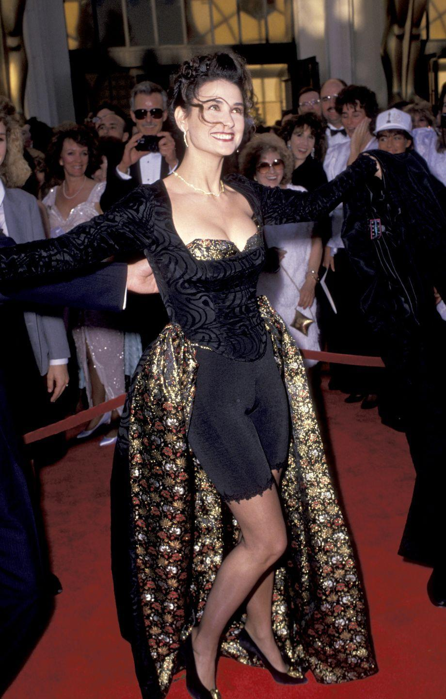 <p>Bicycle shorts, but make it fashion. In 1989, Demi Moore decided to wear the '80s trend to the Academy Awards. </p>