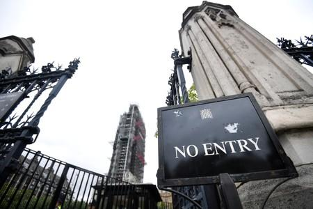 A no entry sign is seen outside the Houses of Parliament in London