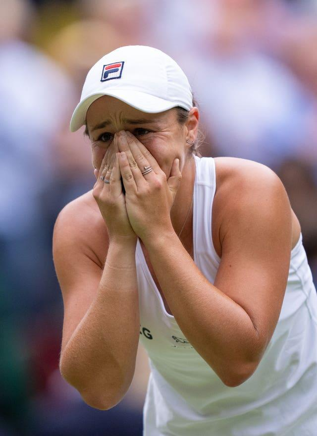 Ashleigh Barty shows her emotion after winning her first Wimbledon title