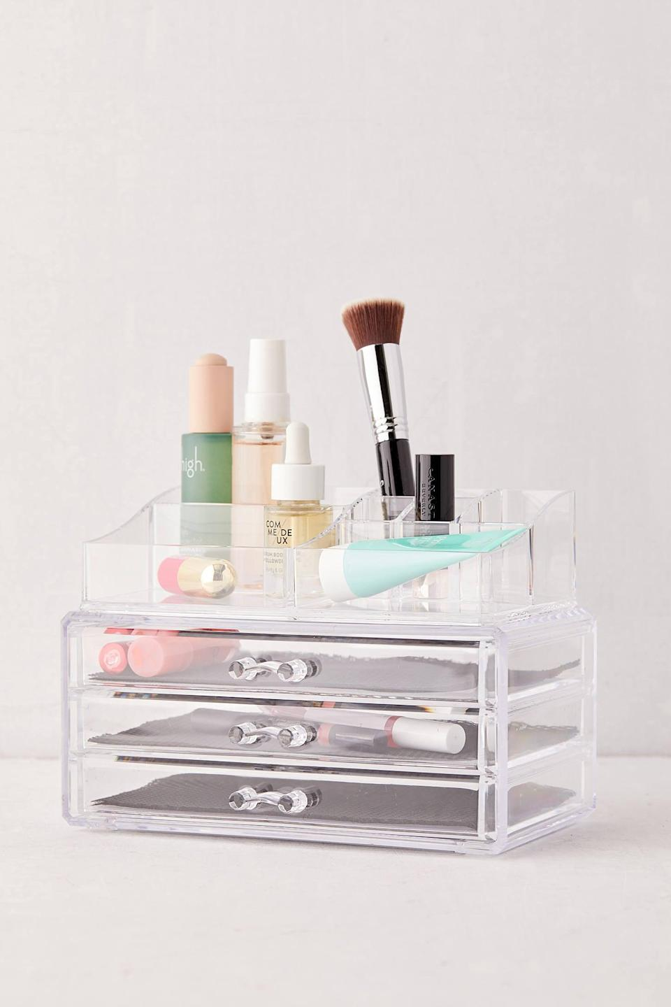 "<p>We all know someone who needs this <a href=""https://www.popsugar.com/buy/Acrylic-Drawer-Makeup-Organizer-551626?p_name=Acrylic%20Drawer%20Makeup%20Organizer&retailer=urbanoutfitters.com&pid=551626&price=29&evar1=casa%3Aus&evar9=47251564&evar98=https%3A%2F%2Fwww.popsugar.com%2Fhome%2Fphoto-gallery%2F47251564%2Fimage%2F47252504%2FAcrylic-Drawer-Makeup-Organizer&list1=cleaning%2Corganization%2Cspring%20cleaning%2Csmall%20space%20living%2Cbathrooms%2Chome%20organization&prop13=mobile&pdata=1"" class=""link rapid-noclick-resp"" rel=""nofollow noopener"" target=""_blank"" data-ylk=""slk:Acrylic Drawer Makeup Organizer"">Acrylic Drawer Makeup Organizer</a> ($29).</p>"