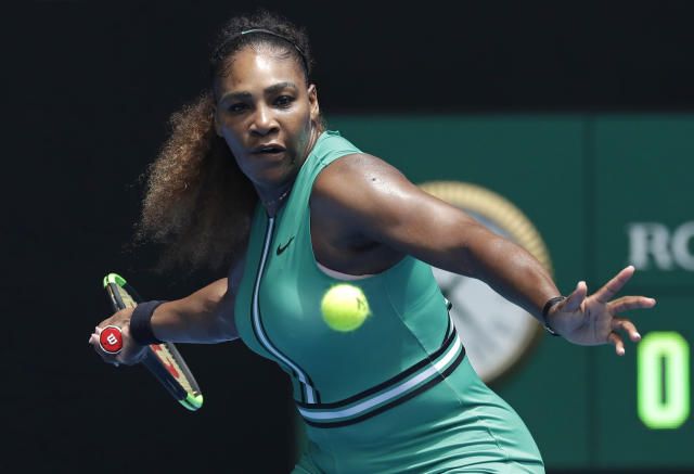 United States' Serena Williams prepares to hit a forehand return to Germany's Tatjana Maria during their first round match at the Australian Open tennis championships in Melbourne, Australia, Tuesday, Jan. 15, 2019. (AP Photo/Kin Cheung)