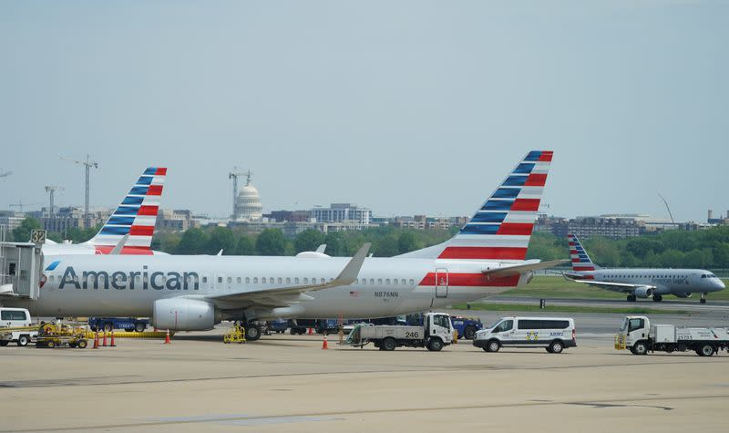 FILE PHOTO: Boeing 737 jet sits at a gate at Washington's Reagan National airport with U.S. Capitol building in the background in Washington