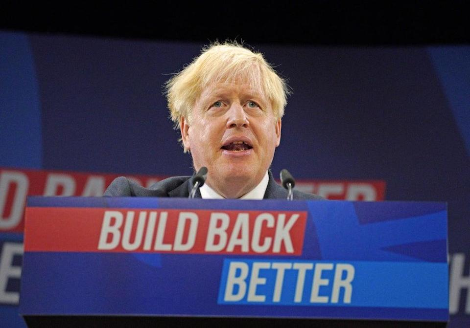 Prime Minister Boris Johnson delivers his keynote speech at the Conservative party conference in Manchester (PA) (PA Wire)