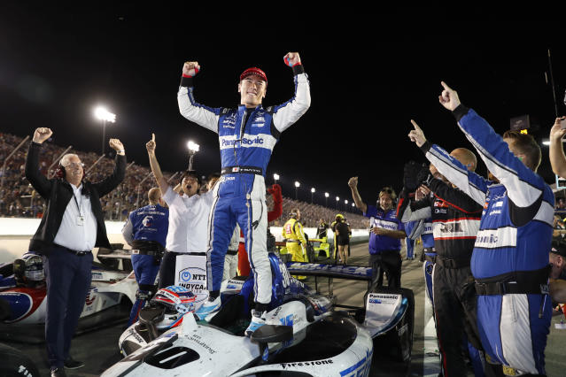 Takuma Sato celebrates after winning the IndyCar auto race at World Wide Technology Raceway on Saturday, Aug. 24, 2019, in Madison, Ill. (AP Photo/Jeff Roberson)