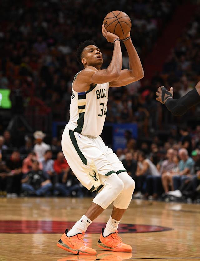 MIAMI, FL - MARCH 15: Giannis Antetokounmpo #34 of the Milwaukee Bucks shoots the ball in the second half against the Miami Heat at American Airlines Arena on March 15, 2019 in Miami, Florida. (Photo by Mark Brown/Getty Images)