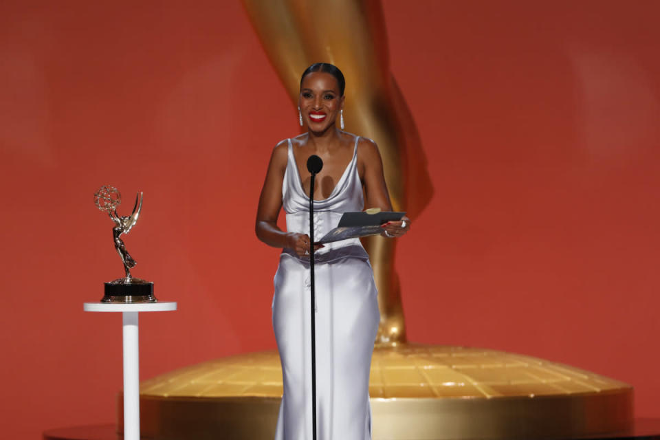 Kerry Washington at the 73rd Emmy Awards - Credit: Cliff Lipson/CBS