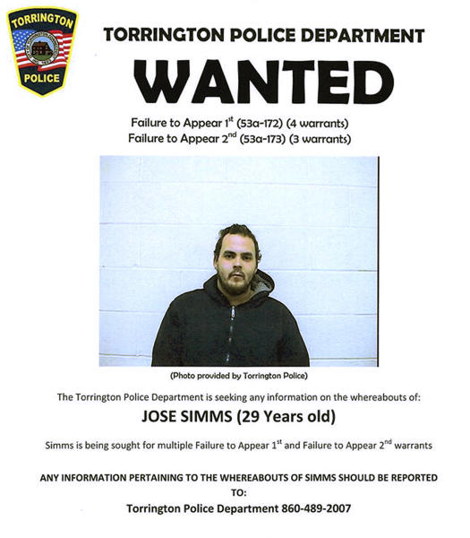This wanted poster released by the Torrington, Conn., Police Department on its Facebook page shows an undated booking photo of Jose Simms, a fugitive with seven arrest warrants being sought after failing to appear in court. An officer in the department reached a deal with the fugitive on Wednesday, May 22, 2019, who agreed to turn himself in if there were 15,000 likes of the wanted poster on social media. (Torrington Police Department via AP)