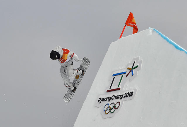 <p>Kyle Mack, of the United States, jumps during the men's slopestyle qualifying at Phoenix Snow Park at the 2018 Winter Olympics in Pyeongchang, South Korea, Saturday, Feb. 10, 2018. (AP Photo/Gregory Bull) </p>