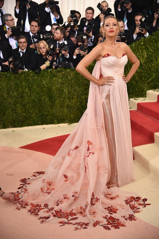 <p>Blake turned to Burberry for her 2016 Met Gala dress. While we didn't really see how it was in keeping with the theme (Manus x Machina: fashion in an age of technology), we loved it all the same. <i>[Photo: Getty]</i></p>