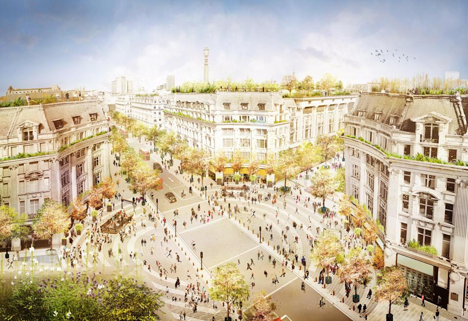 A bird's eye view of the new plans with traffic continuing on Regent Street and two new Piazzas on Oxford Street