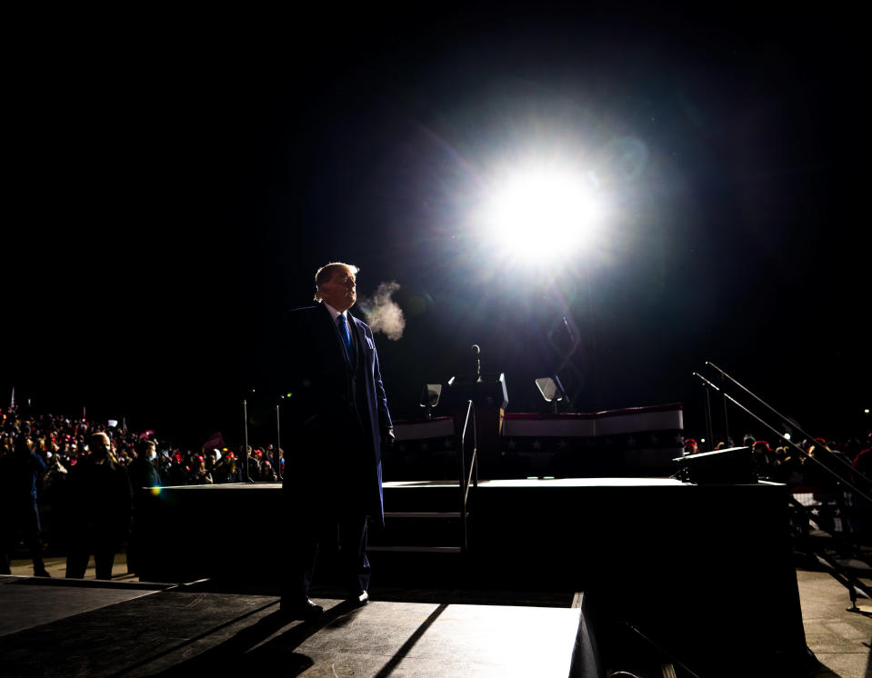 President Donald Trump during a campaign rally at Eppley Airfield in Omaha, Neb., Oct. 27, 2020. (Doug Mills/The New York Times)