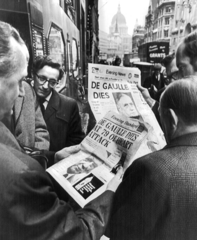 Londoners on November 10, 1970 read the news: Charles de Gaulle is dead