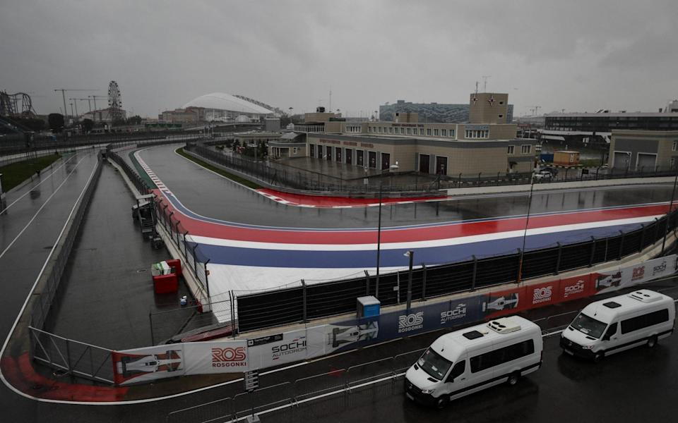 Photo by Yuri Kochetkov/EPA-EFE/Shutterstock (12465405g) General view of the Sochi Autodrom race track during heavy rain in Sochi, Russia, 25 September 2021. The third practice session of the 2021 Formula One Grand Prix of Russia was canceled due to heavy rainfal - Yuri Kochetkov/EPA-EFE/Shutterstock
