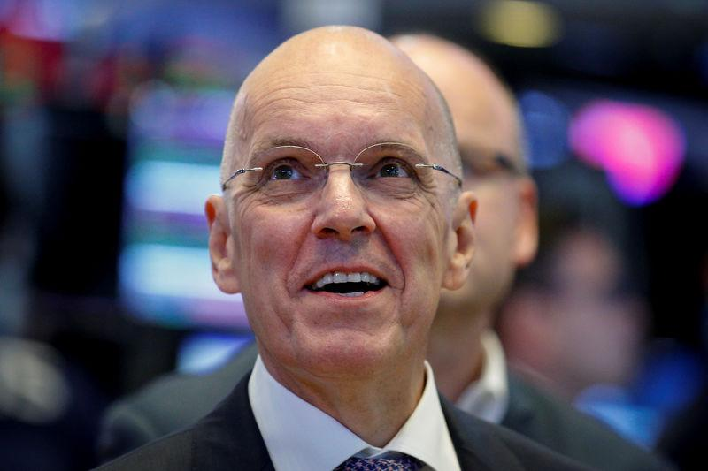 FILE PHOTO: Jan Carlson, CEO of Veoneer, Inc., watches as his company's stock begins trading on the floor