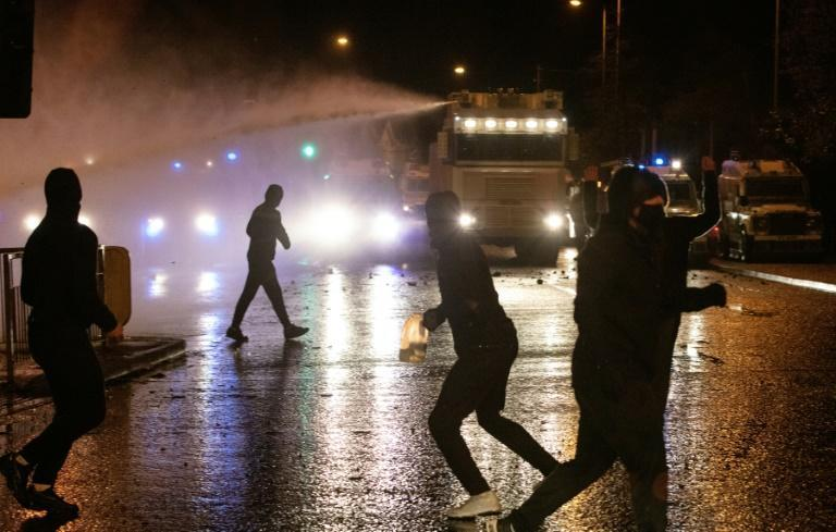 Police used water cannon in clashes with nationalist youths in Belfast, Northern Ireland, during the evening of April 8, 2021