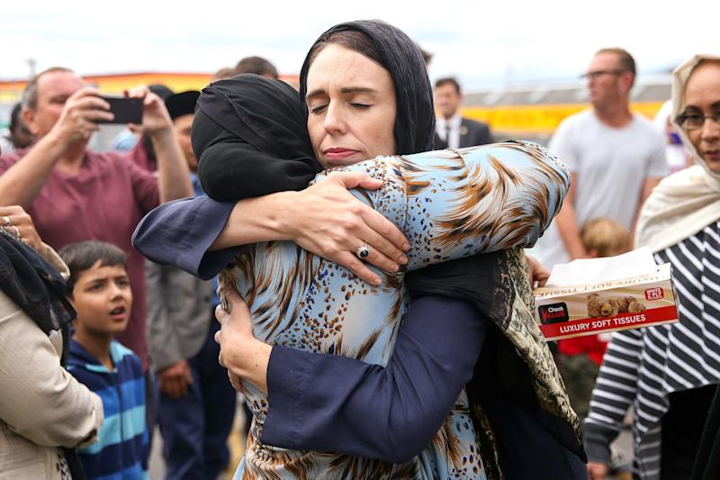 Jacinda Ardern hugs a mosque-goer at the Kilbirnie Mosque in Wellington, New Zealand (Getty Images)