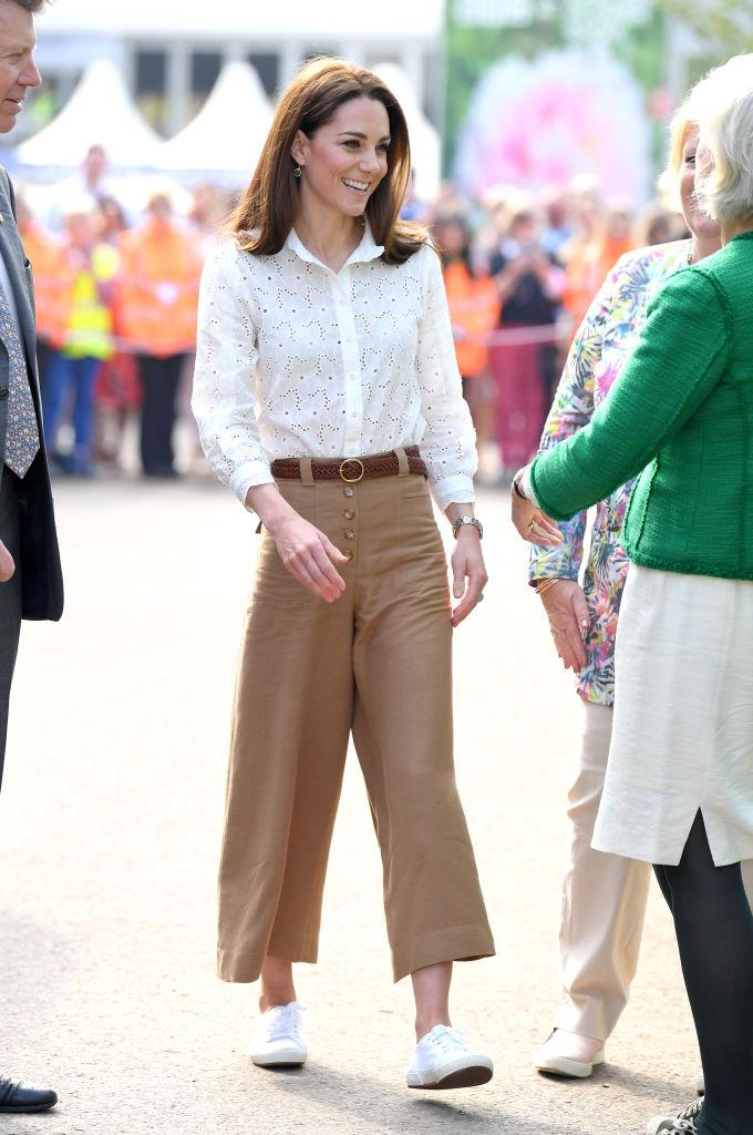 Middleton wearing Superga sneakers at the RHS Chelsea Flower Show in 2019. (Photo by Karwai Tang/WireImage)