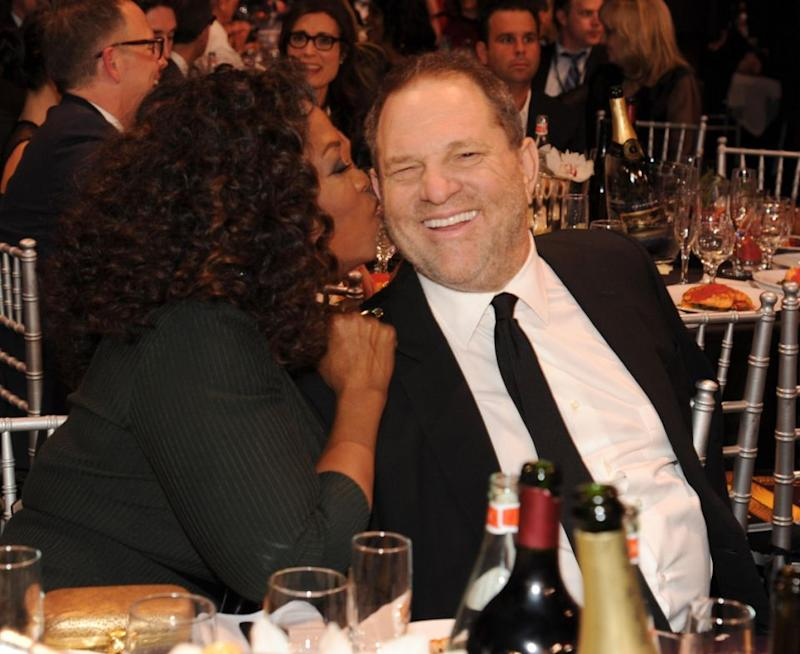 This photo of Oprah with disgraced Weinstein in 2014 had re-emerged after her powerful speech against abusers. Source: Getty