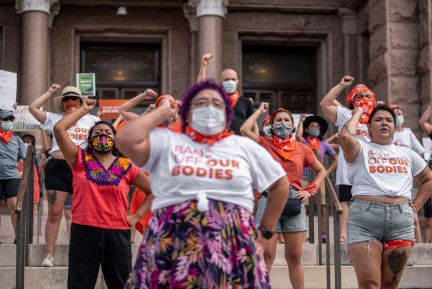 Pro-choice protesters perform outside the Texas State Capitol on Wednesday (Photo: The Washington Post via Getty Images)