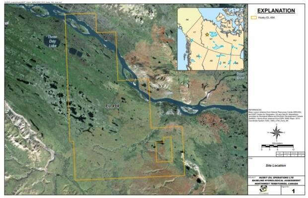 A satellite view of Cenovus's exploration licence EL494, recently converted to a significant discovery.  (Mackenzie Valley Land and Water Board - image credit)