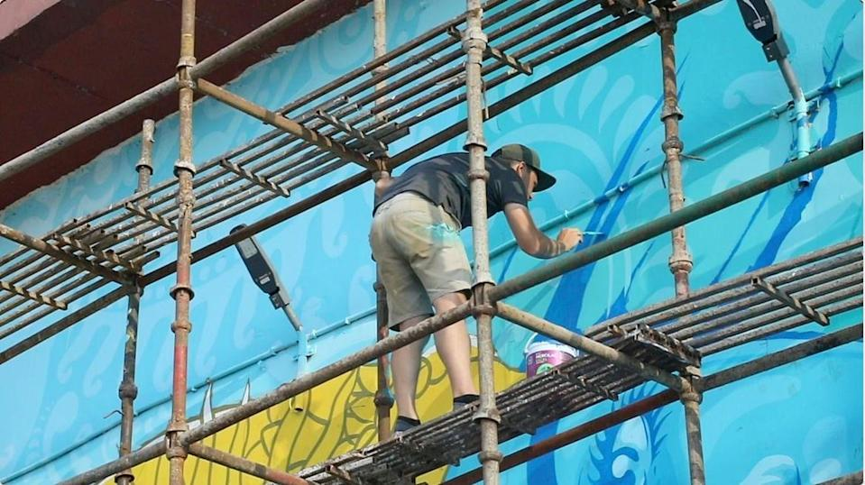 French artist Chifumi bringing Shri Ram to life on the walls of the pump house at Ayodhya