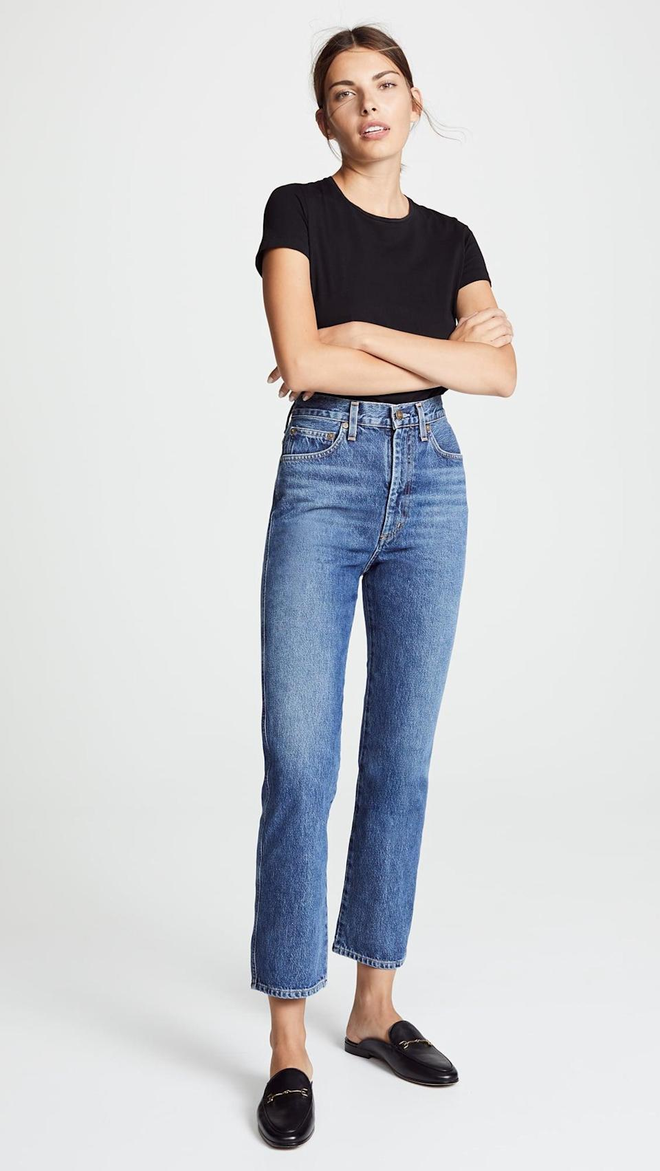 """<p>""""I've never met jeans that fit my waist so well and allow me to move with ease through my days. These <span>AGOLDE Pinch Waist High Rise Kick Jeans</span> ($178) feel like they were custom made, which is why I wear them all the time."""" - Shelcy Joseph, assistant editor, Shop</p>"""