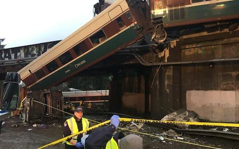 Photograph posted on Twitter by Pierce Co Sheriff's Department shows Amtrak train derailment near Tacoma, Washington - Credit: Twitter:PierceSheriff