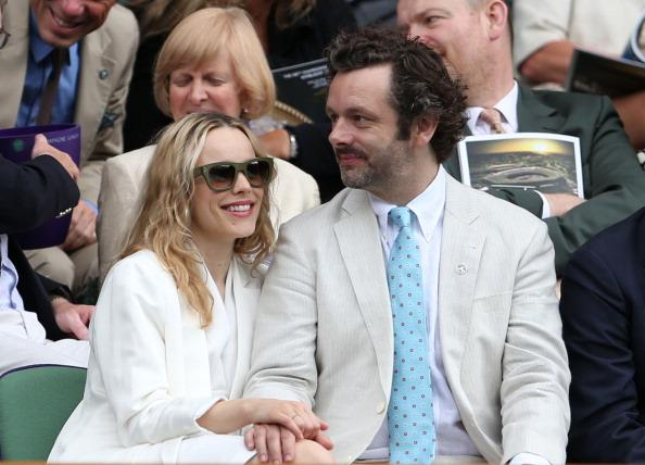 Rachel McAdams and Michael Sheen look on from the Royal Box on Centre Court ahead of the Ladies' Singles final match between Serena Williams of the USA and Agnieszka Radwanska of Polandon day twelve of the Wimbledon Lawn Tennis Championships at the All England Lawn Tennis and Croquet Club on July 7, 2012 in London, England. (Photo by Julian Finney/Getty Images)