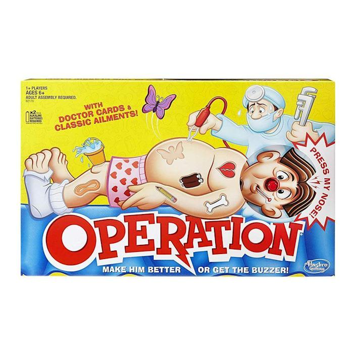 """<p><strong>$17.97</strong></p><p><a href=""""https://www.amazon.com/Hasbro-B2176-Classic-Operation-Game/dp/B01JF1VRL0/?tag=syn-yahoo-20&ascsubtag=%5Bartid%7C2089.g.37696840%5Bsrc%7Cyahoo-us"""" rel=""""nofollow noopener"""" target=""""_blank"""" data-ylk=""""slk:Shop Now"""" class=""""link rapid-noclick-resp"""">Shop Now</a></p><p>What better way to show him how fun (and nerve-racking) life as a surgeon can be than with this classic board game. Use the tweezers to relieve the patient of various ailments — a frog in the throat, a tricky funny bone. Encourages hand-eye coordination, fine motor skills, and lots of fun.</p>"""