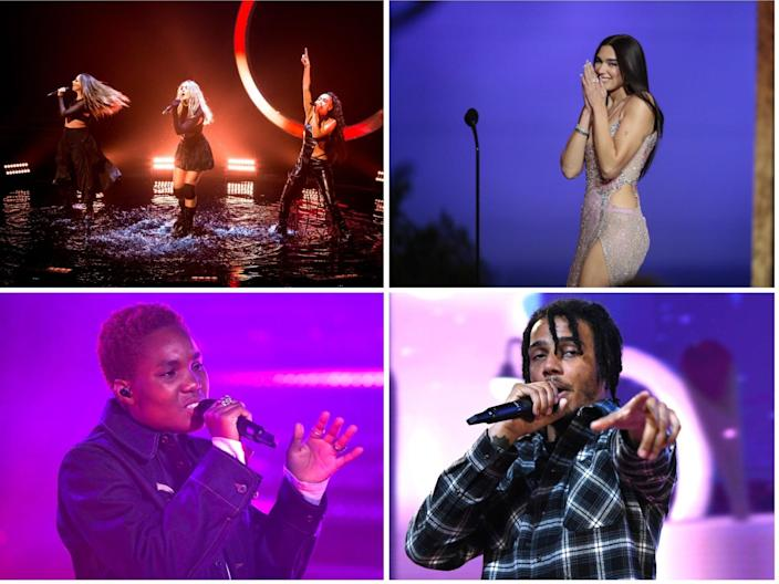 <p>Top left clockwise: Little Mix, Dua Lipa, AJ Tracey and Arlo Parks</p> (Shutterstock)