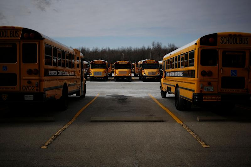 School buses at a compound for the Jefferson County Public Schools. (Photo: Luke Sharrett via Getty Images)