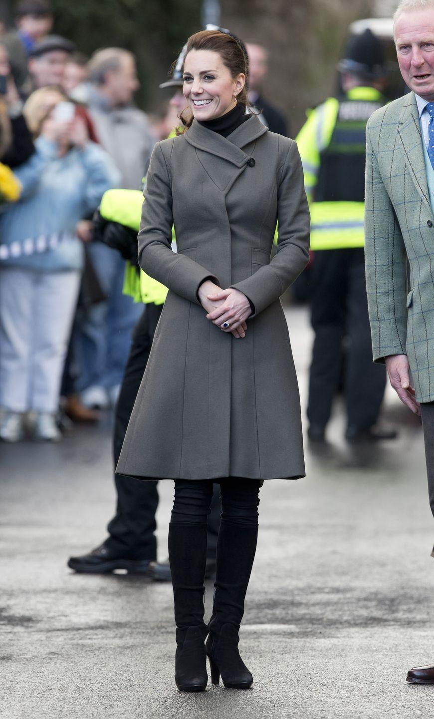 <p>Kate wore her Reiss coat again in North Wales while visiting The Men's Shed Centre with Will. </p>