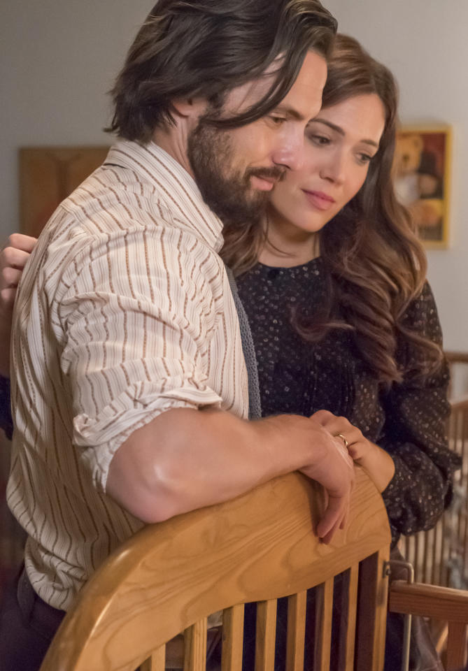 <p>Milo Ventimiglia as Jack and Mandy Moore as Rebecca in NBC's <i>This Is Us</i>.<br />(Photo by: Ron Batzdorff/NBC) </p>