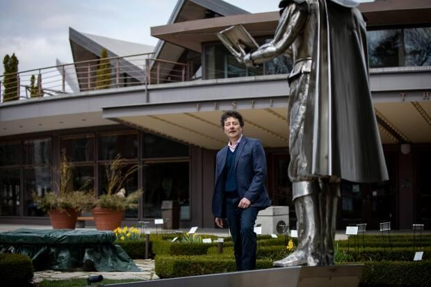 The Stratford Festival, had been holding annual theatre productions in Stratford, Ont., since 1953, and put its 2020 season on hold amidst the COVID-19 pandemic. Artistic Director Antoni Cimolino, pictured in front of Festival Theatre, says performances will return in 2021 with an open-air season. (Evan Mitsui/CBC - image credit)