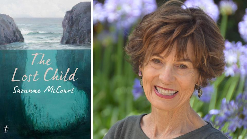 Front cover of book The Lost Child showing ocean and two large rock formations, Suzanne McCourt smiles in front of agapanthus'.