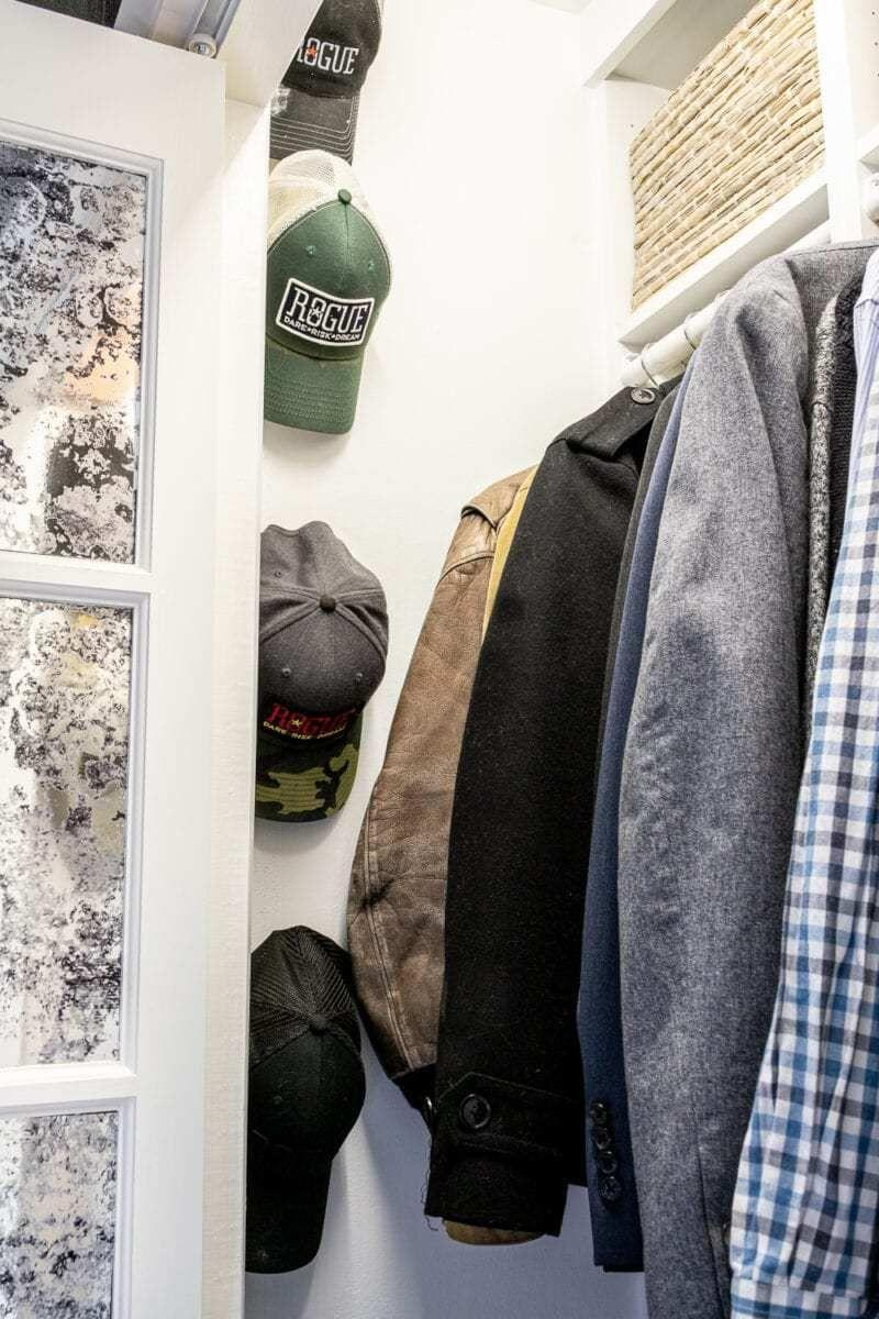 "<p>Use extra wall space to stash smaller items that are tricky to place. Think: hats, necklaces, scarves, ties, belts, and more. </p><p>See more at <a href=""https://www.blesserhouse.com/our-small-master-ikea-closet-reveal/"" rel=""nofollow noopener"" target=""_blank"" data-ylk=""slk:Bless'er House"" class=""link rapid-noclick-resp"">Bless'er House</a>.</p>"