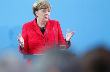 German Chancellor Merkel attends an event that is honouring volunteers who help refugees, in Berlin