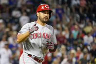 Cincinnati Reds' Eugenio Suarez runs the bases after hitting a three-run home run in the fourth inning of the baseball game against the New York Mets, Saturday, July 31, 2021, in New York. (AP Photo/Mary Altaffer)
