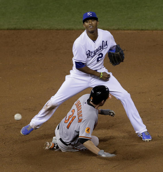 Kansas City Royals shortstop Alcides Escobar throws to first too late for the double play on Baltimore Orioles' Nate McLouth after forcing Taylor Teagarden (31) out at second during the eighth inning of a baseball game Tuesday, July 23, 2013, in Kansas City, Mo. (AP Photo/Charlie Riedel)