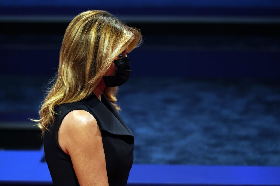First lady Melania Trump arrives before the second and final presidential debate Thursday, Oct. 22, 2020, at Belmont University in Nashville, Tenn. (AP Photo/Patrick Semansky)