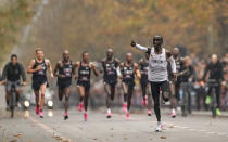 Eliud Kipchoge runs on his way to break the historic two hour barrier for a marathon in Vienna, Saturday, Oct. 12, 2019. Eliud Kipchoge has become the first athlete to run a marathon in less than two hours, although it will not count as a world record. The Olympic champion and world record holder from Kenya clocked 1 hour, 59 minutes and 40 seconds Saturday at the INEOS 1:59 Challenge, an event set up for the attempt. (Jed Leicester/The INEOS 1:59 Challenge via AP)