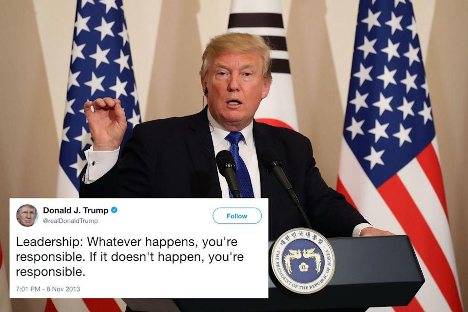 <p>This pearl of wisdom about leadership qualities from 2013 reads a little differently four years on.<br>In May 2017, Trump tried to repeal Obamacare, but failed to secure the necessary 50 Senate votes. But instead of taking responsibility, Trump launched into an attack on those who had voted against him. 'For seven years, I've been hearing 'repeal and replace' from Congress, and I've been hearing it loud and strong,' he moaned. 'And then when we finally get a chance to repeal and replace, they don't take advantage of it.'<br><br>Instead, he vowed in a tweet just to 'let Obamacare fail'.<br>In September, after Trump had failed to repeal it for a second time, he blamed Republican Senator John McCain for voting against him; and Congress in general for 'pandering and grandstanding'.<br>Anyone but himself, apparently. </p>