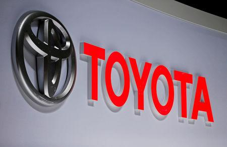 FILE PHOTO: A Toyota logo is displayed at the 89th Geneva International Motor Show in Geneva, Switzerland, March 5, 2019. REUTERS/Pierre Albouy/File Photo