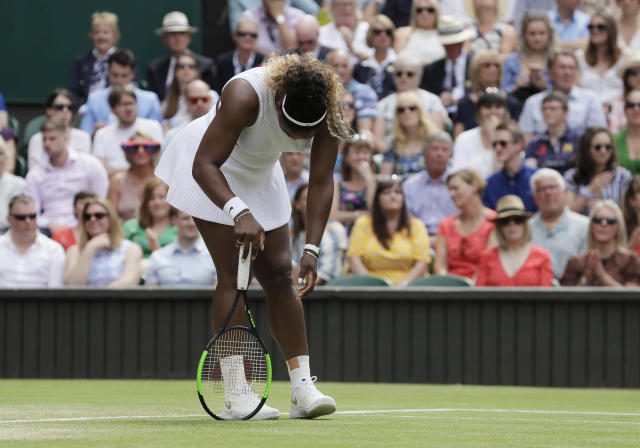 Serena Williams fell short of her quest to tie Margaret Court's grand slam singles title on Saturday. (AP Photo/Kirsty Wigglesworth)