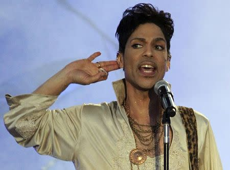 File photo of U.S. musician Prince performing at the Hop Farm Festival near Paddock Wood