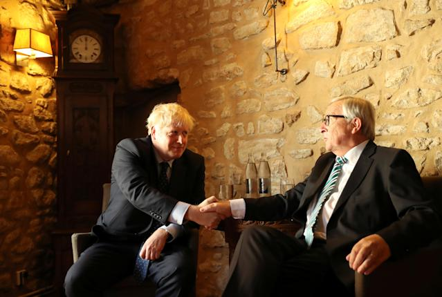 Jean-Claude Juncker shakes hands with Boris Johnson during a meeting in Luxembourg in September (Picture: Reuters)