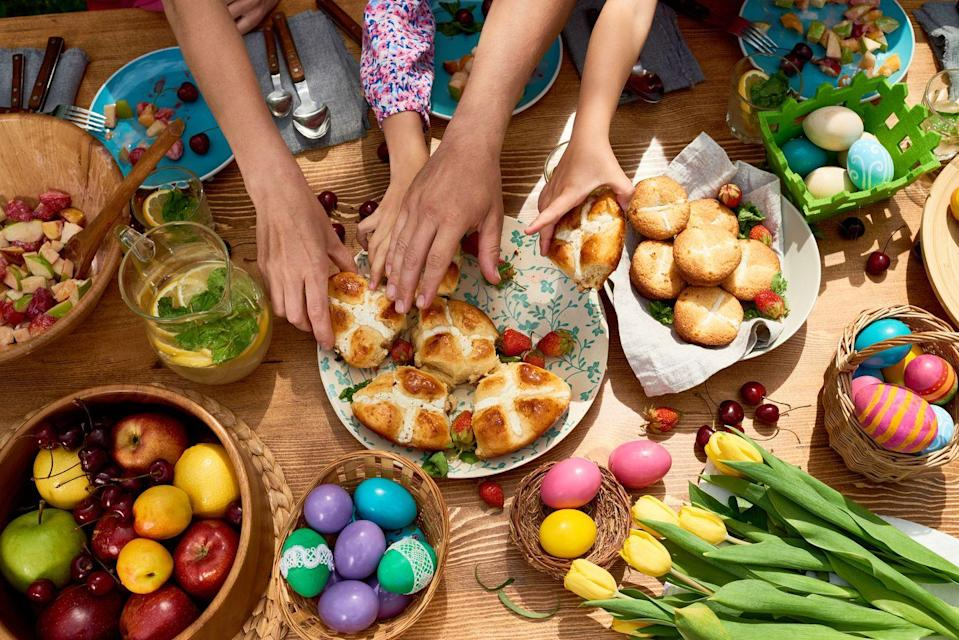"""<p>These sweet, dense treats traditionally eaten on Good Friday are said to be packed with some serious good luck. <a href=""""https://mic.com/articles/31483/good-friday-2013-5-superstitions-about-the-christian-holiday#.SQUMRm2MP"""" rel=""""nofollow noopener"""" target=""""_blank"""" data-ylk=""""slk:Superstitions say"""" class=""""link rapid-noclick-resp"""">Superstitions say</a> that buns baked on holiday will never spoil, protect against shipwrecks, and will protect your home from fire.</p><p><strong>RELATED:</strong> <a href=""""https://www.goodhousekeeping.com/holidays/easter-ideas/g261/easy-easter-buffet/"""" rel=""""nofollow noopener"""" target=""""_blank"""" data-ylk=""""slk:30+ Easy and Elegant Easter Brunch Ideas"""" class=""""link rapid-noclick-resp"""">30+ Easy and Elegant Easter Brunch Ideas</a></p>"""