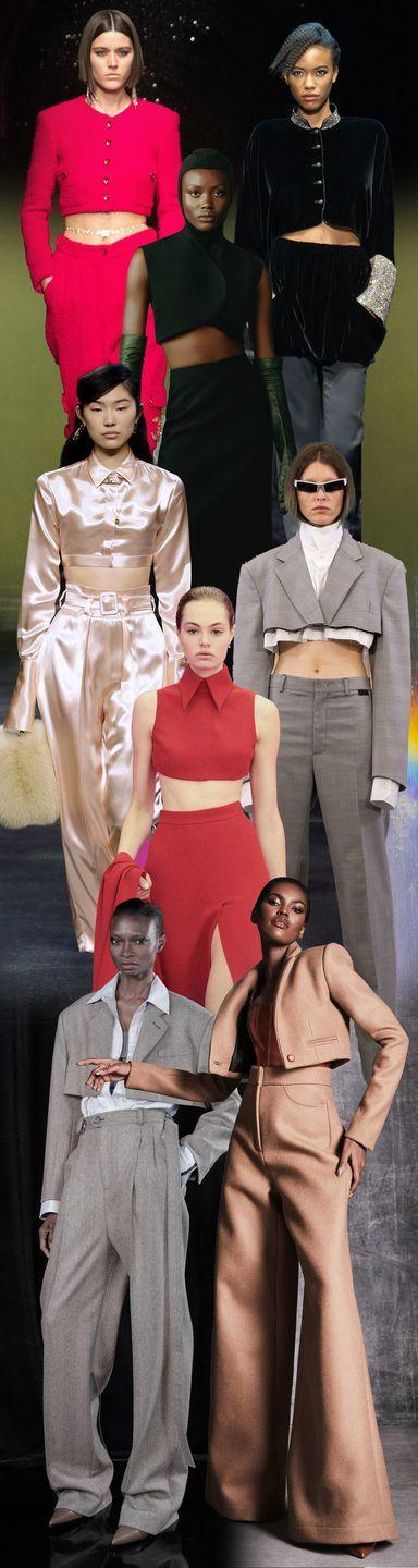 <p>And the new silhouette turning all the heads comes by way of cropped jackets and tops. These elegant, midriff-baring looks are far from the mini tees of your youth. Sophisticated and chic on a fuchsia pantsuit at Chanel or a menswear look with a twist at Peter Do, and on an utterly ladylike two-piece set at Emilia Wickstead, these short takes are for posh girls only. </p><p><em>Pictured from top to bottom: Chanel, Giorgio Armani, Fashion East, Fendi, Vetements, Emilia Wickstead, Peter Do, and Laquan Smith. </em></p>